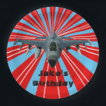 "Fighter Jet  Paper Plates 9 in<br><div class=""desc"">Fighter jet on dynamic red background paper plates.</div>"