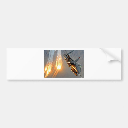 FIGHTER JET RELEASES HOT FLARES BUMPER STICKERS