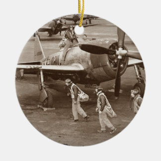 Fighter Pilots Training on P-47 Thunderbolts Ceramic Ornament
