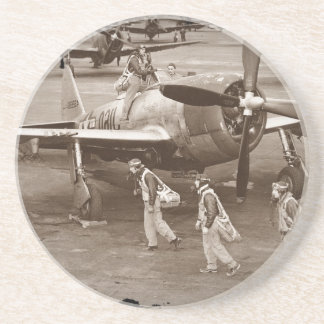 Fighter Pilots Training on P-47 Thunderbolts Sandstone Coaster