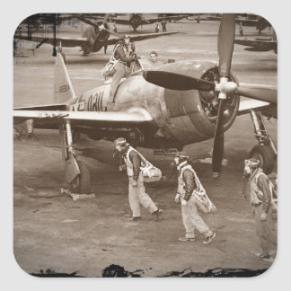 Fighter Pilots Training on P-47 Thunderbolts Square Sticker