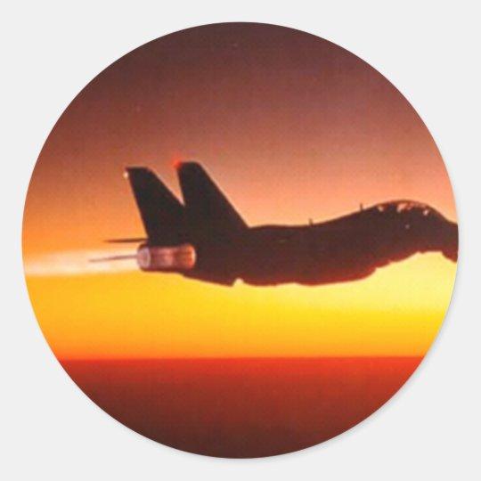 Fighter plane classic round sticker