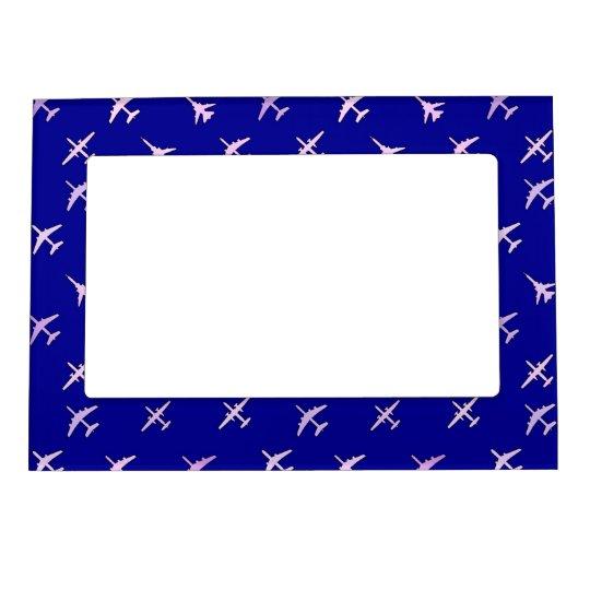 fighter planes on navy blue magnetic photo frame. Black Bedroom Furniture Sets. Home Design Ideas