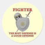 Fighter: The Best Defense Classic Round Sticker