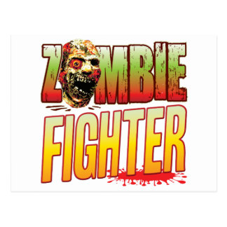Fighter Zombie Head Postcard