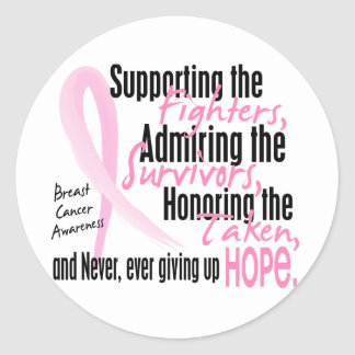 Fighters Survivors Taken Watercolor Pink Ribbon Classic Round Sticker