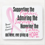 Fighters Survivors Taken Watercolor Pink Ribbon Mouse Pads