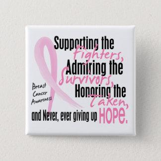Fighters Survivors Taken Watercolor Pink Ribbon Pinback Button