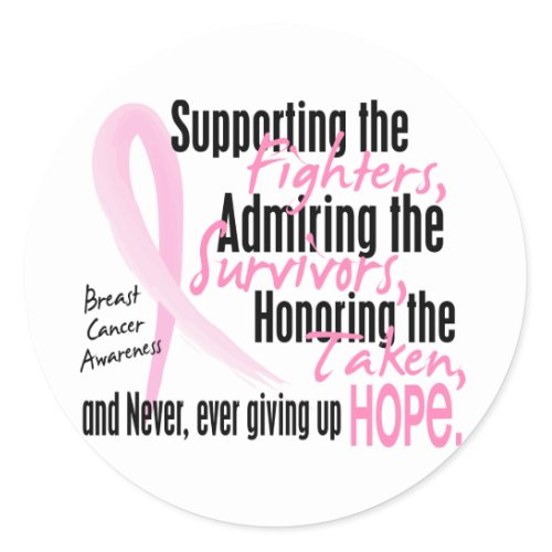 Fighters Survivors Taken Watercolor Pink Ribbon zazzle_sticker