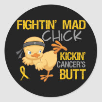 Fightin Chick Childhood Cancer Classic Round Sticker