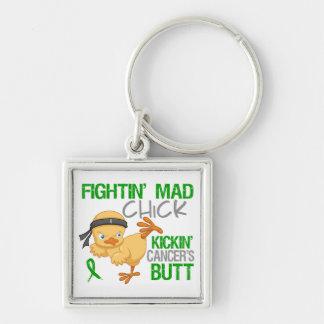 Fightin Chick Kidney Cancer Green Ribbon Keychains
