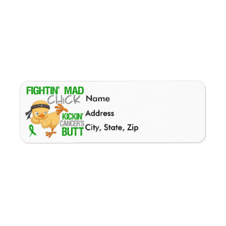 Fightin Chick Kidney Cancer Green Ribbon Label