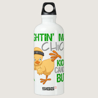 Fightin Chick Kidney Cancer Green Ribbon Water Bottle