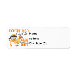 Fightin Chick Kidney Cancer w/ Orange Ribbon Label
