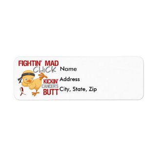 Fightin Chick Throat Cancer Label