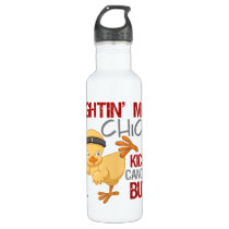 Fightin Chick Throat Cancer Stainless Steel Water Bottle