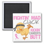 Fightin' Mad Chick Breast Cancer 2 Inch Square Magnet