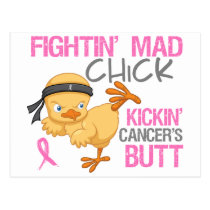 Fightin' Mad Chick Breast Cancer Postcard