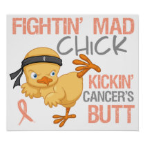 Fightin' Mad Chick Endometrial Cancer Poster
