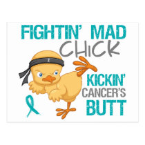 Fightin' Mad Chick Ovarian Cancer Postcard