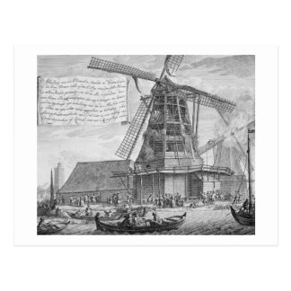 Fighting a fire in a windmill near Worden, from a Postcard