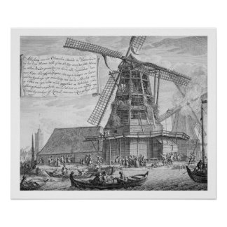 Fighting a fire in a windmill near Worden, from a Poster