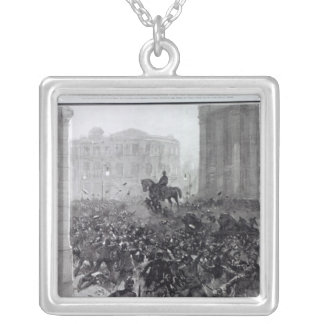 Fighting at the Liverpool General Transport Square Pendant Necklace
