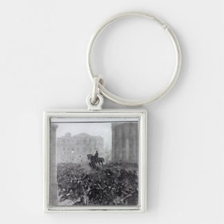 Fighting at the Liverpool General Transport Silver-Colored Square Keychain