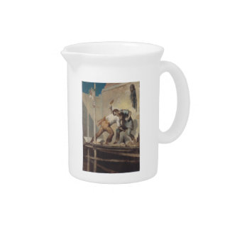 Fighting Bricklayer by Honore Daumier Beverage Pitchers