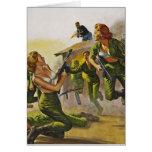 Fighting Combat Women in their Bras Cards