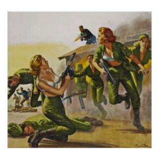 Fighting Combat Women in their Bras Print