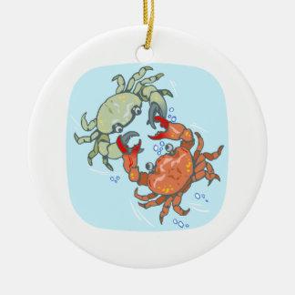fighting crabs ceramic ornament