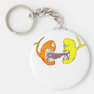 fighting fish basic round button keychain