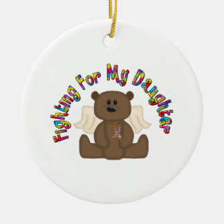 Fighting for my daughter (boy bear) ceramic ornament