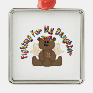 Fighting for my daughter (girl bear) metal ornament