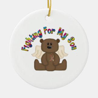 Fighting for my son (boy bear) ceramic ornament