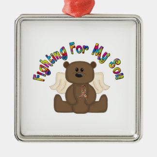 Fighting for my son (boy bear) metal ornament