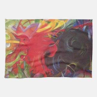 Fighting Forms (Kämpfende Formen) by Franz Marc Kitchen Towel