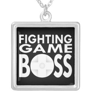 Fighting Game Boss Square Pendant Necklace
