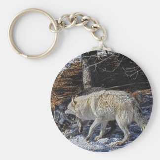 Fighting Grey Wolves Keychain