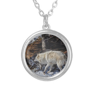 Fighting Grey Wolves Silver Plated Necklace