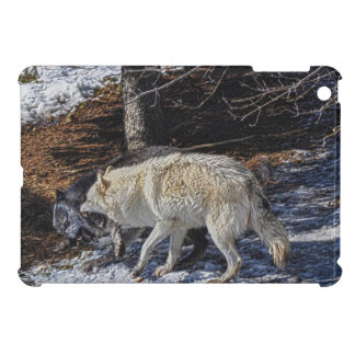 Fighting Grey Wolves Wildlife Photo Art Case For The iPad Mini