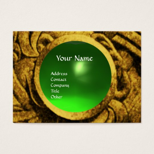 FIGHTING GRYPHONS MONOGRAM Gold Green Emerald Business Card