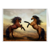 Fighting horses card