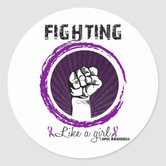 Fighting Like A Girl.. Lupus Awareness Classic Round Sticker