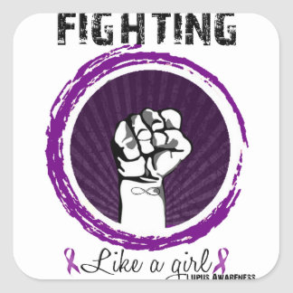 Fighting Like A Girl.. Lupus Awareness Square Sticker