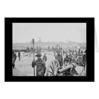 Fighting Men & Cannon in Fort Richardson 1862 Card