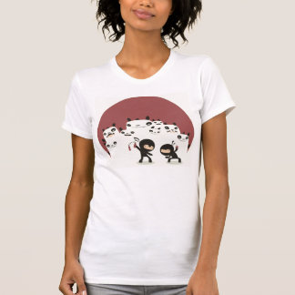 Fighting Ninjas, Watching Pandas womens tshirt