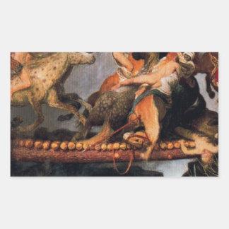Fighting on a bridge by Arnold Böcklin Rectangular Sticker