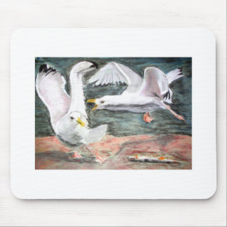 Fighting seagulls mouse pad